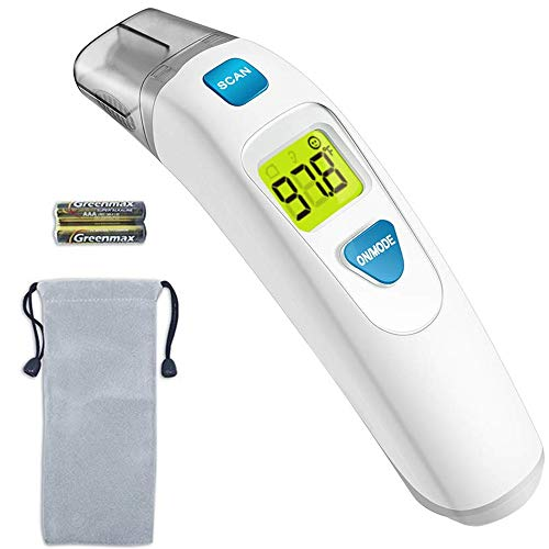MIBEST Forehead and Ear Thermometer 2-in-1 – Digital Medical Baby, Kids, and Adult Infrared Thermometer – Child Temporal Thermometer with Fever Alert – 2 in 1 in Ear Temperature Thermometer