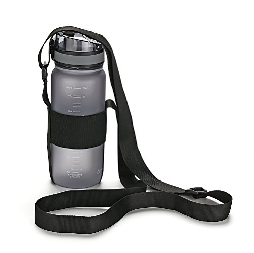 OYT Water Bottle Carrier with Adjustable Shoulder Strap,Universal Bottle Sling,Perfect for Daily Walking,Biking, Hiking,Going to The Beach, Black