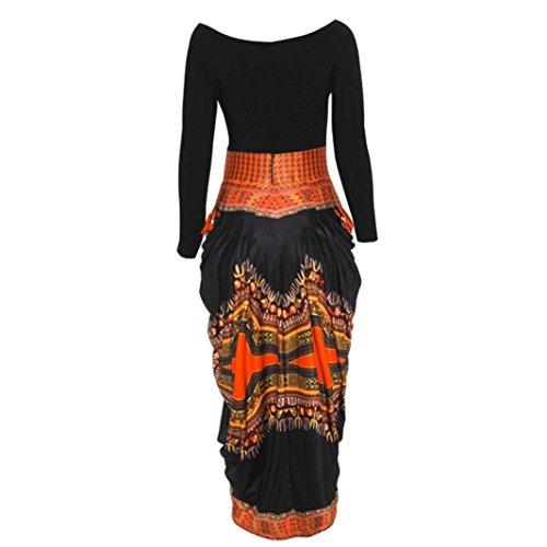 Rcool Frauen unregelmäßige Afrikanischen Print Kleid Casual Langarm Minikleider