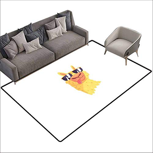 Floor Rug Pattern Llama Funny Sunglasses Wearing Farm Animal Cartoon Character South American Mascot Design Personality W5' x L7'10 Multicolor