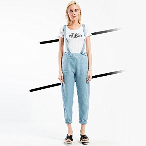 YLSZ-New women's, Europe and the new women's wear, suspenders, linen, casual elastic waist, light blue,blue,S