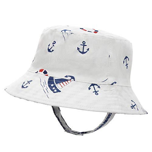 (Baby Boy Sun Hat Reversible - Toddler Beach Sun Protection Bucket Hat Breathable Summer Play (L 50/12-24 Months, Sailboat))