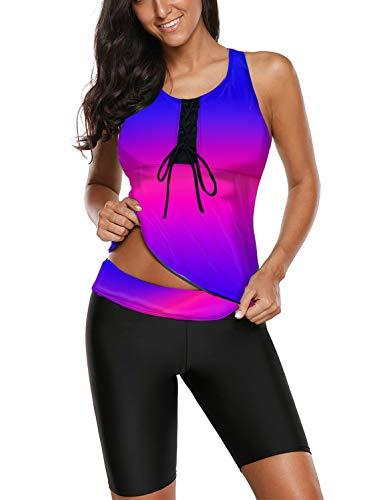 (Aleumdr Women's Racerback Color Block Striped Tankini Set with Boyshort Swimsuit Swimwear Blue Purple 3XL 22 24)