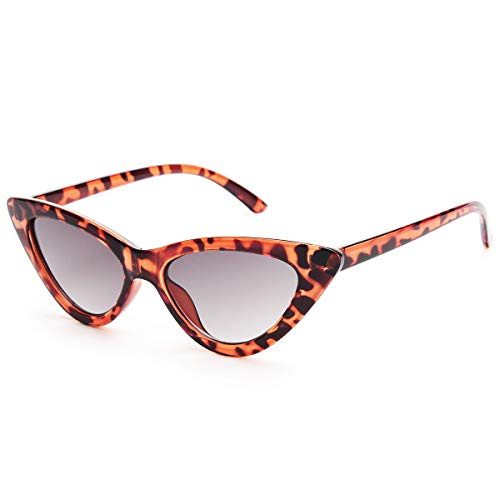 Livhò Retro Vintage Narrow Cat Eye Sunglasses for Women Clout Goggles Plastic Frame (Leoaprd - Leopard Lolita