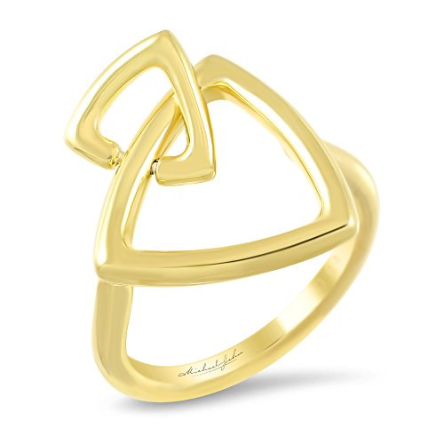 Michael John Brisa Collection - Faith Design | Silver Trilliant Ring Overlaid in 18K Gold - Size 7