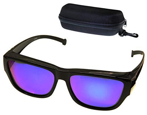 (ETP Sunglasses -Polarized Ice Blue Mirror Lens with Case - Black Frame - Size Large)