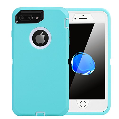 iPhone 8 Plus/7 Plus Case, AICase [Heavy Duty] [Full Body] Tough 4 in 1 Rugged Shockproof Cover with Built-in Screen Protector for Apple iPhone 8 Plus/7 Plus (White/Light Blue)