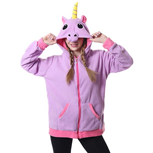 [Foresightrade Adults and Children Animal Cosplay Unicorn Sweatshirts Hoodies Jacket (M fit for Height 155-165CM (61