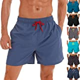 SILKWORLD Men's Swim Trunks Quick Dry Beach Shorts with Pockets, US XL, Light Navy Blue