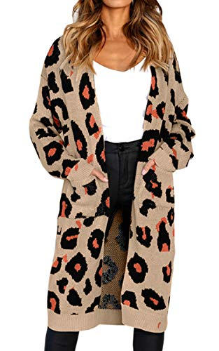 Angashion Women's Long Sleeves Leopard Print Knitting Cardigan Open Front Warm Sweater Outwear Coats with Pocket 001Khaki XL -