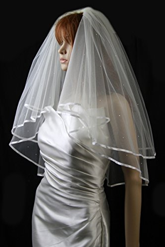 Bridal Veil Diamond (Off) White 2 Tiers Elbow Length With Scattered Rhinestones Diamond White Bridal Veil