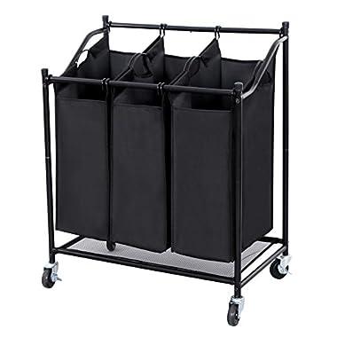 Songmics 3-Bag Rolling Laundry Sorter Heavy-duty Storage Hampers Black URLS76H