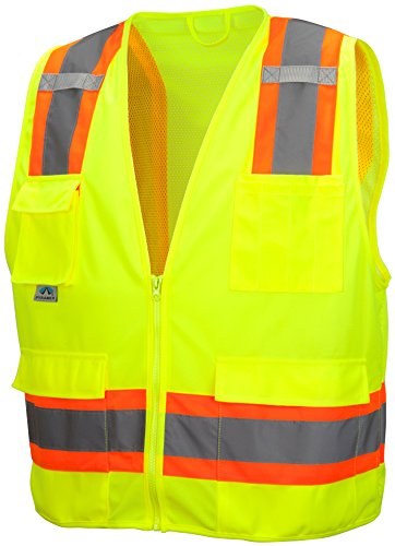 Pyramex RVZ2410X5 Lumen X Class 2 Surveyor's Safety Vest with 8 Pockets, 5X-Large, Hi-Vis Lime