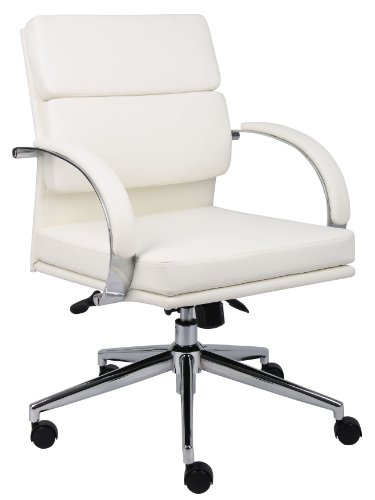 (Boss Office Products B9406-WT Boss Caressoftplus Executive Series Chair, 250 lb, White/Chrome)