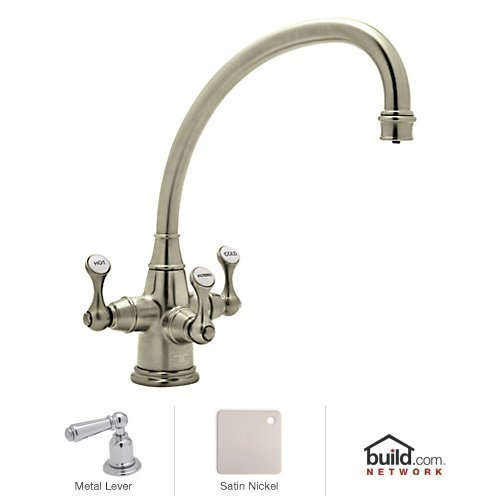Rohl U.1420LS-STN-2 Satin Nickel Perrin And Rowe Perrin And Rowe Triple Handle Filtering Kitchen Faucet with Triflow Technology And Metal Lever Handles (Faucet Perrin And Rowe Nickel)