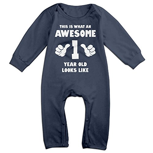 Baby Infant Romper Birthday 1 Year Old Long Sleeve Playsuit Outfits Navy 18 Months - Momma's Boy Costume