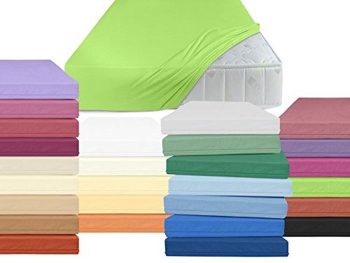 klassisches Jersey Spannbettlaken - Helena - mit einer Steghöhe von ca. 30 cm - für alle handelsüblichen Standardmatratzen geeignet - erhältlich in 32 ausgesuchten Farben und 11 verschiedenen Größen, 90-100 x 200 cm, apfelgrün