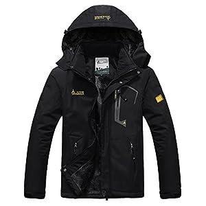 HOWON Men's Snow Jacket Windproof Waterproof Ski Jackets Winter Hooded Mountain Fleece Outwear
