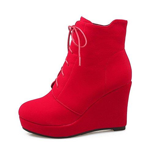 AllhqFashion Botas Mujeres Cuña Caña Cordones Rojo Sólido Baja 44rwvR