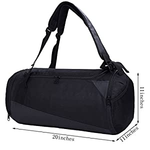 "MIER 20"" Mens Sports Backpack Duffel Small Gym Bag with Shoe Compartment, Black"