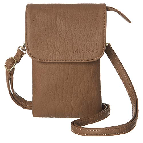 MINICAT Roomy Pockets Series Small Crossbody Bags Cell Phone Purse Wallet For Women(Dark Brown)