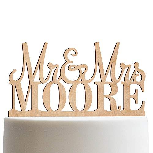 - Mr & Mrs Personalized Wedding Cake Topper Custom Made Wedding Favor Customized Last Name Topper For Wedding Cake | Wooden Cake Toppers