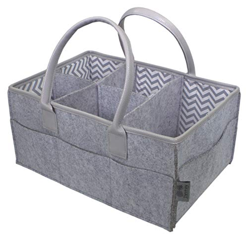 ganizer by Devray | Nursery Storage Bin | Grey Leather Pu Handles and Top Trim with 5 Compartments ()
