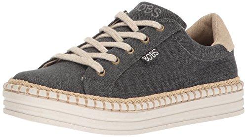 BOBS from Skechers Womens Burlap Wedge Espadrille Fashion Sneaker Black