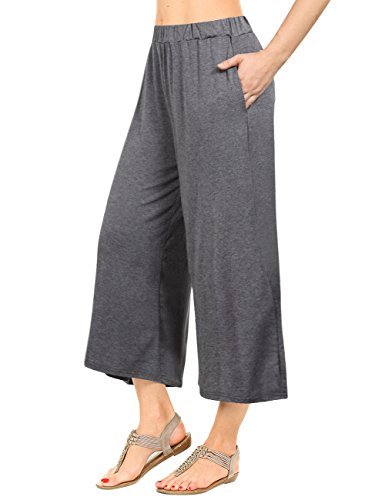 GlorySunshine Women's Elastic Waist Solid Palazzo Casual Wide Leg Pants with Pockets Gray (Cotton Elastic Leg)