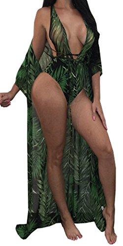 Lovaru Women's New Colorful Dyeing Bikini One Piece Swimsuit+Ponchos Cover Ups (Medium, Dark Green1)