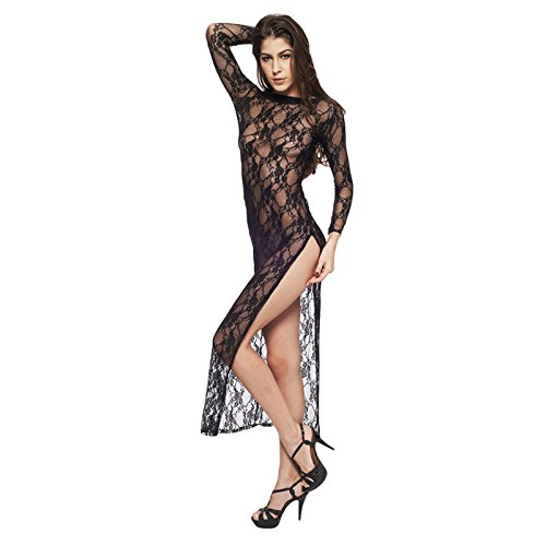 Secxt Sexy Lingerie Women Sexy Lace Retro Transparent Sm Sao Gauze High Fork Long Cheongsam Temptation Nightclub Bar Stage Performance Cos Gloves Gloves Dresstemperament, Underwear, Personality, Comf]()