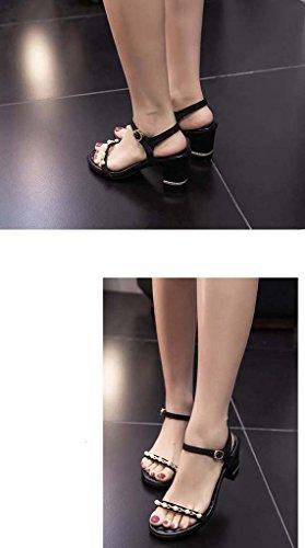 SHEO sandalias de tacón alto Sra. Europa y los Estados Unidos con un tacón alto con sandalias suaves Negro