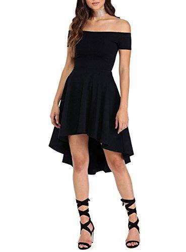 d089ac38282 Sarin Mathews Women Off The Shoulder Short Sleeve High Low Cocktail Skater  Dress