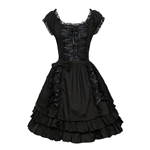 ZhangjiayuanST Classic Black Lace up Lolita Costume Dress Girls Women Princess Gothic Fancy Dress up Cosplay Skirts (Large, Black)