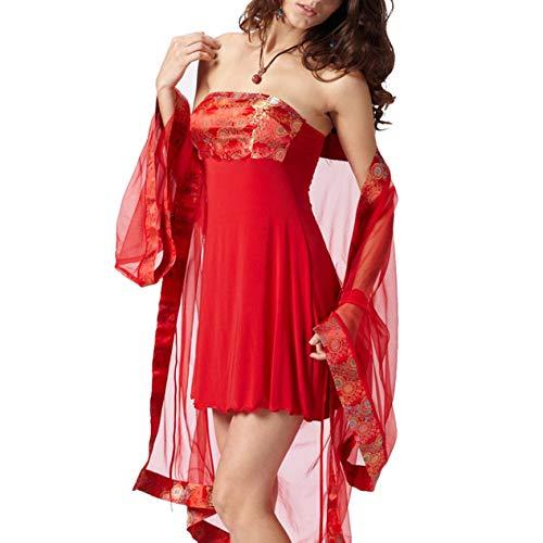 Sexy Lingerie Red Kimono Cheongsam Exotic Mesh Costumes Sexy Underwear Sleepwear Sexy Gowns