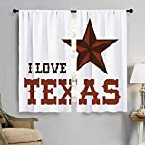 PriceTextile Texas Star Decorative Curtains for Living Room Western Culture Motifs with a Quote About Southwest of United States Window Curtain Drape 63'' W x 45'' L Dark Brown and Brown