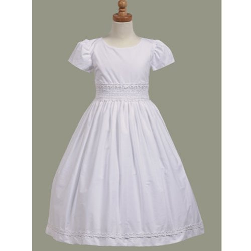 Lito Communion Dress Girls 8 White Cotton Smocked Short -