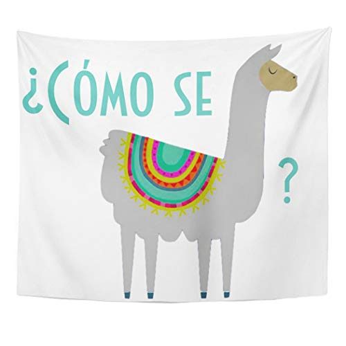 Semtomn Tapestry Artwork Wall Hanging Spanish C Mo Llama ESPA Teacher Classroom Class Como 60x80 Inches Tapestries Mattress Tablecloth Curtain Home Decor Print ()