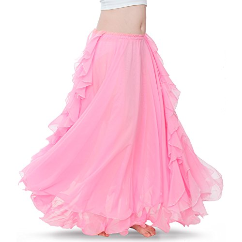 ROYAL SMEELA Women's Belly Dance Chiffon Skirt ATS Voile Maxi Full Dress Bellydance Skirts Pink One Size
