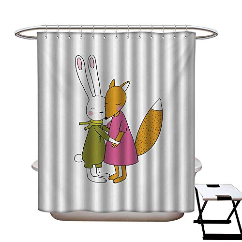 hower Curtains 3D Digital Printing Fox and Hare Friendly Forest Wildlife Characters Hugging Each Other Custom Made Shower Curtain W48 x L72 Pink Amber Olive Green ()