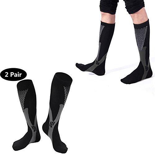 Compression Socks for Women and Men,2 Pairs Unisex Knee High Nursing Sports Socks Best for Medical Running Nursing Travel Flight Edema Diabetic (XL, - Oakleys Best Baseball For