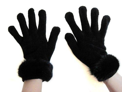 FursNewYork Women's Black Stretch Chenille Gloves with Black Mink Fur Trim