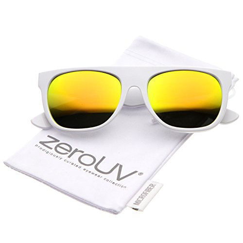 zeroUV - Modern Super Flat-Top Wide Temple Colored Mirror Lens Horn Rimmed Sunglasses 55mm (Shiny White / Yellow - Flat Wayfarer Black