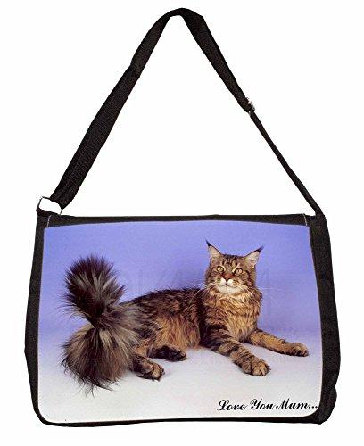 Maine Coon Cat Love You Mum Large 16 Black School Laptop Shoulder Bag drKiz