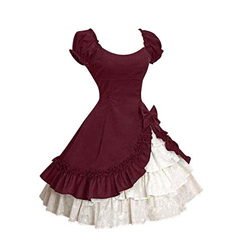 (Mysky Women Vintage Ruffle Tiered Medieval Frill Frock Party Dress Ladies Asymmetrical Ball Gowns Wedding)