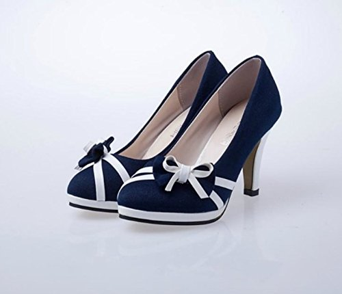 Shallow Blue thin Women's stripe shoes mouth tie heels High Bow 6AAzR