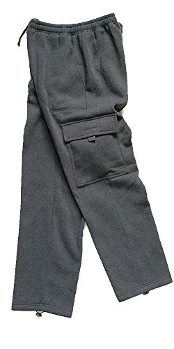 Woodland Supply Co. Men's Cargo Pocket Fleece Pants (X-Large, Charcoal)