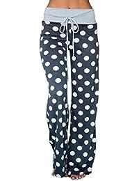 Women's Comfy Soft Stretch Wide Leg Polka Floral Print Palazzo Pajama Pants Lounge