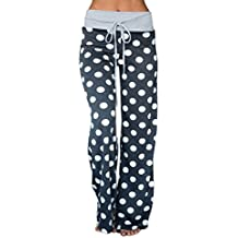 Famulily Women's Comfy Soft Stretch Wide Leg Polka Floral Print Palazzo Pajama Pants Lounge