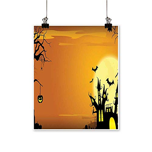 Office Decorations Gothic Haunted House Theme Flying Bats Western Spooky Night Scene with Pumpkin -Abstract Art Painting,20